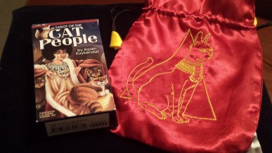 Tarot of the Cat People Deck and Egyptian Cat satin tarot bag