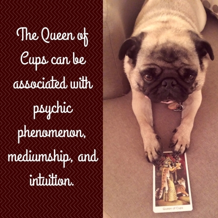 The Queen of Cups can be associated with psychic phenomenon, mediumship, and intuition.