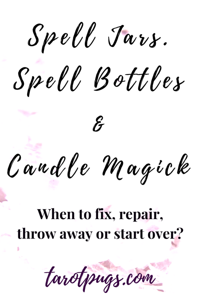 Spell Jars, Spell Bottles & Candle Magick in Witchcraft. Has a spell jar or spell bottle leaked or broke? What do you do if you have to put out a candle during a spell? Find out if you can fix, repair, throw away or start over these spells. #witchcraft #witch #spells