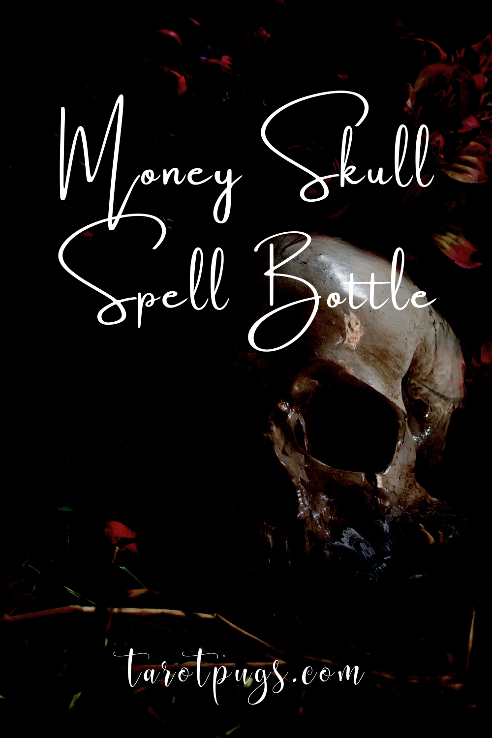 Learn how to make this witchcraft money skull spell bottle to attract money to your or your business. #witchcraft #money #moneyspells