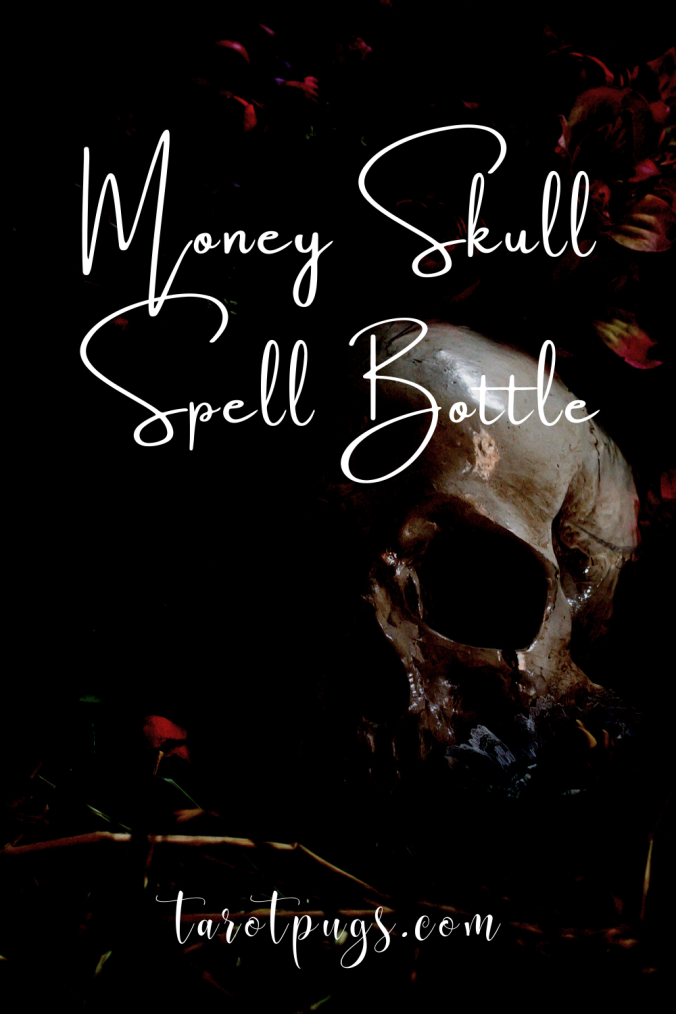 Attract money to you and/or your business with this Money Skull Spell Bottle. #witchcraft #magick #spells